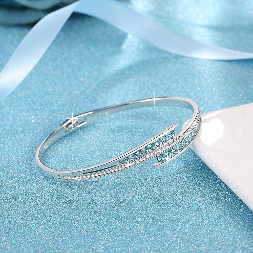 Blue Crystal Sterling Silver Bangle