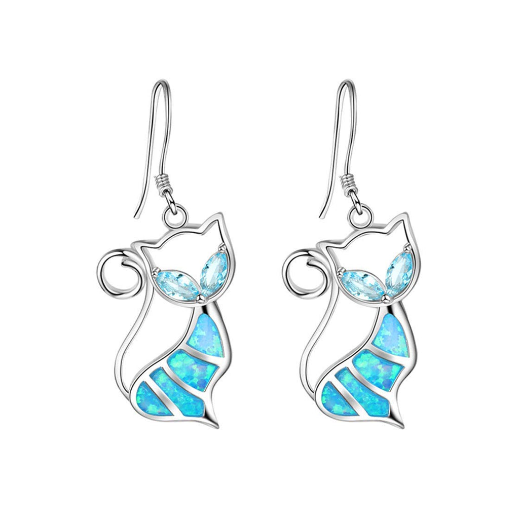 Blue Opal Cat Earrings