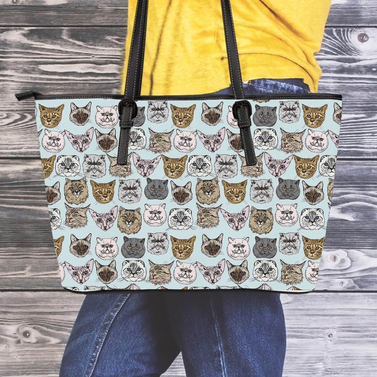 Cat Faces Leather Tote Bag