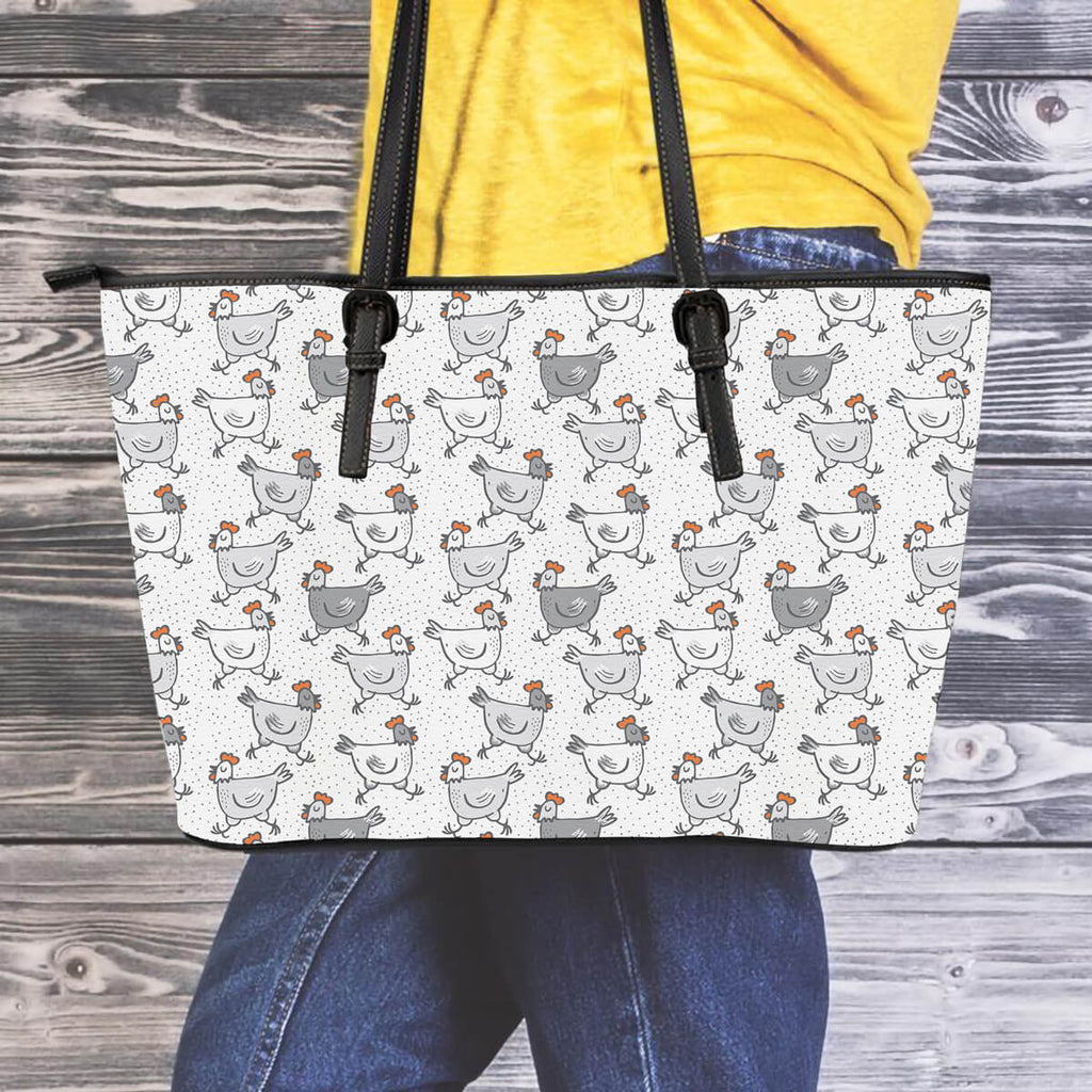Running Chickens Leather Tote