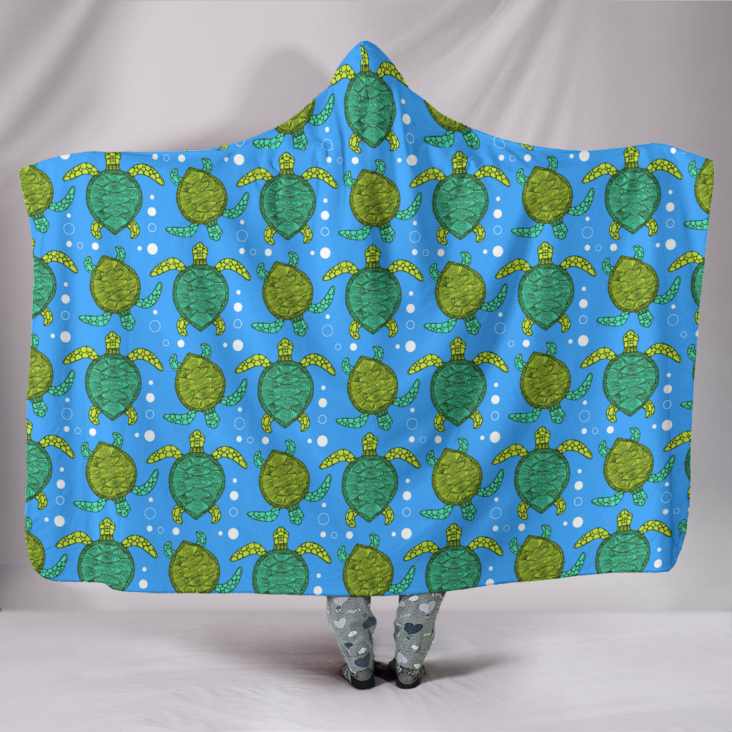 Swimming Turtles Hooded Blanket