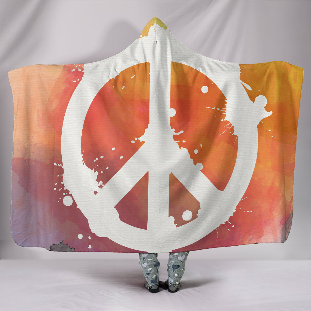Peace Sign Hooded Blanket - 24 Style