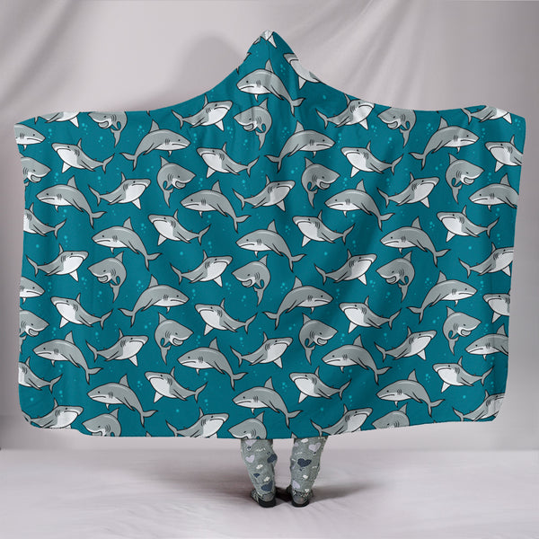 Circling Sharks Hooded Blanket