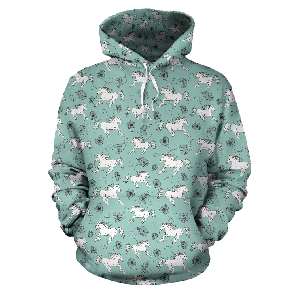 Green Horses Pullover Hoodie