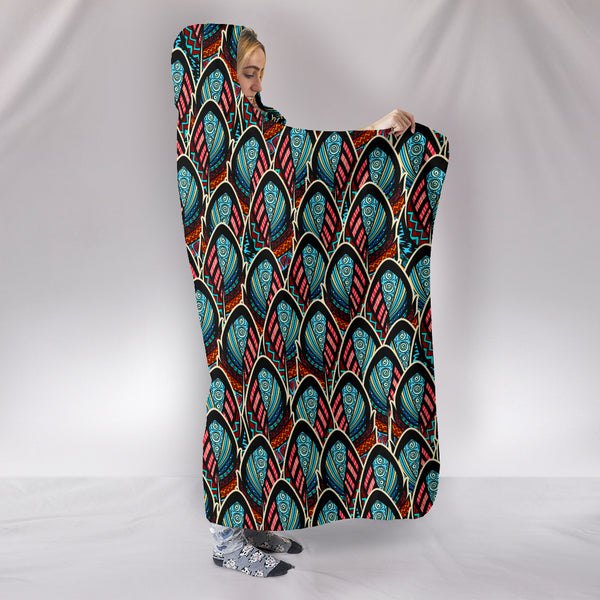 Trippy Feathers Hooded Blanket