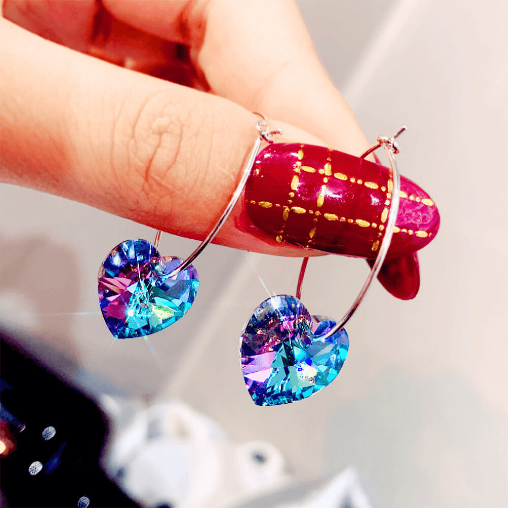 Purple Crystal Hoop Earrings