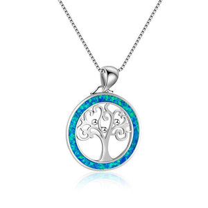 Tree of Life Blue Opal Necklace