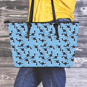 Jumping Orcas Leather Tote Bag
