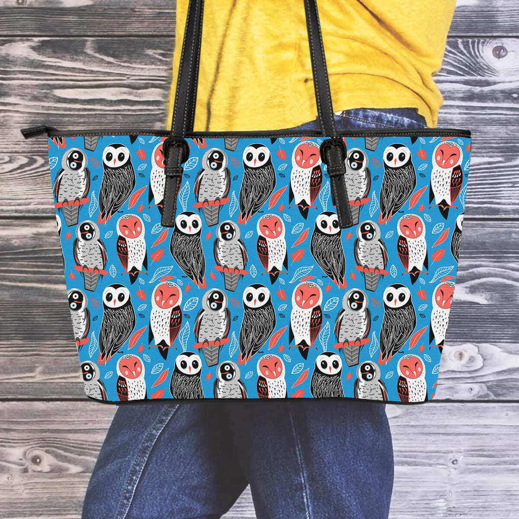 Owls Leather Tote Bag