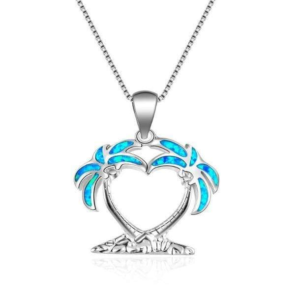 Palm Trees Opal Necklace - 24 Style