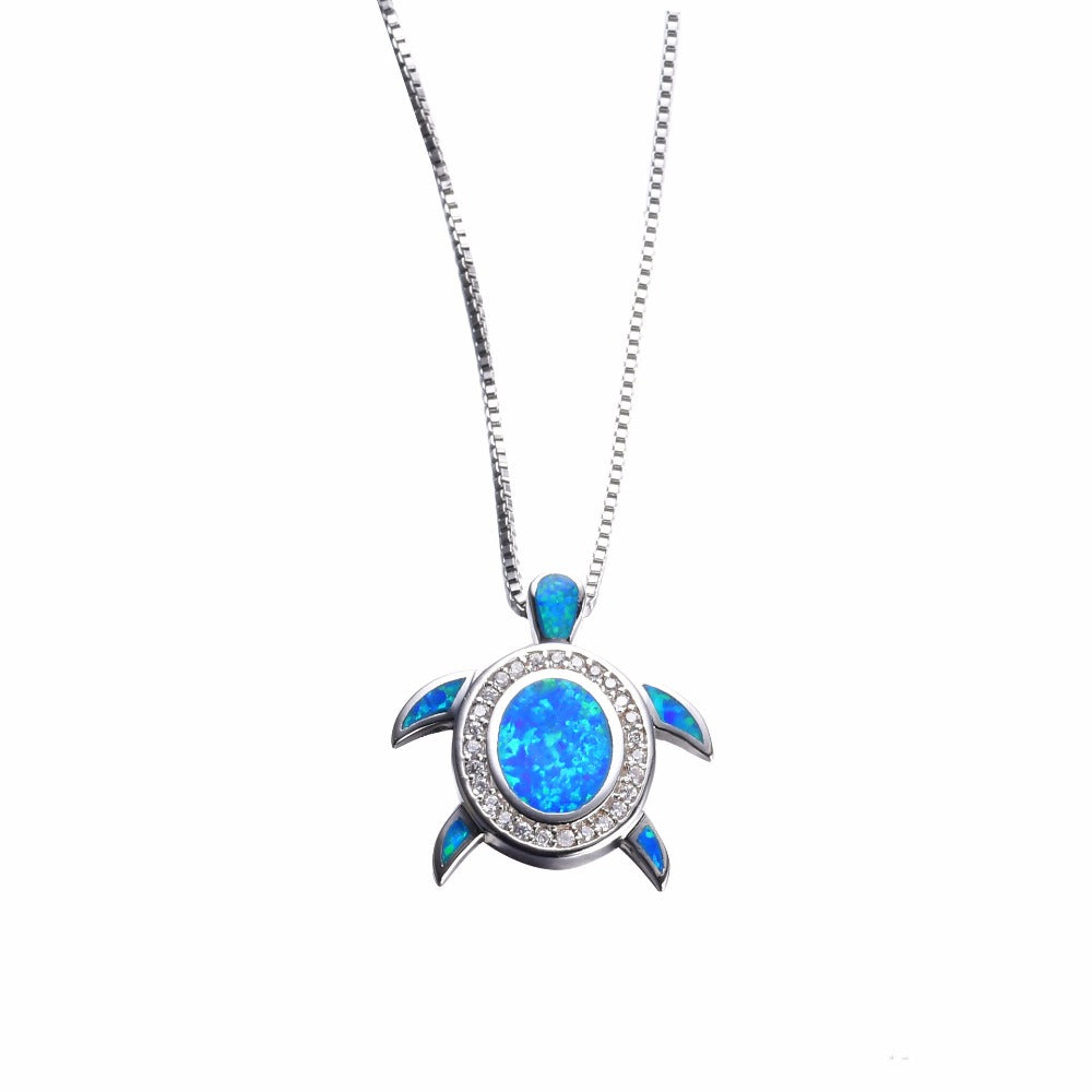 Blue Opal CZ Turtle Necklace