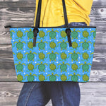 Swimming Turtles Leather Tote Bag