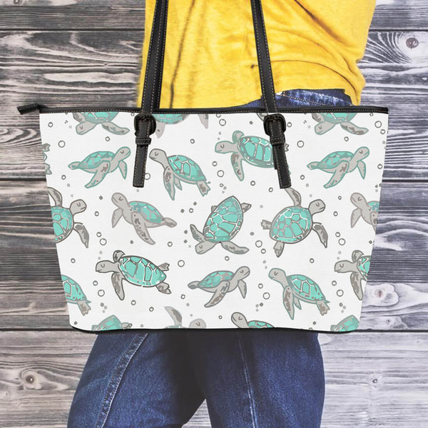 Sea Turtle Leather Tote Bag