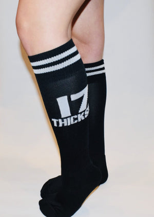 17 Stripe Knee High Sock - Black