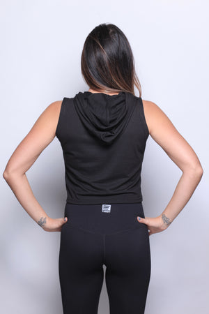 THKST Vitalize Sleeveless Crop Hoodie - Black
