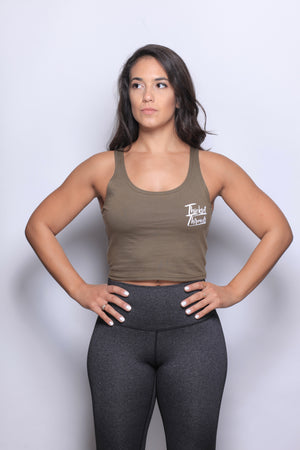 THKST Purely Alive Crop Tank - Military Green