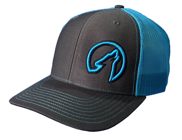 Coyote Country Trucker Hat Charcoal/Neon Blue