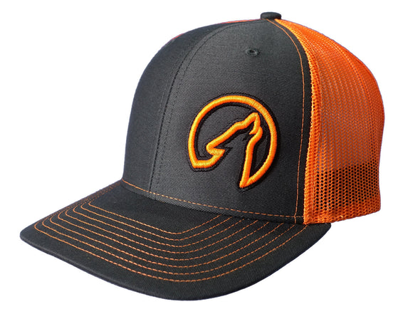 Coyote Country Trucker Hat Charcoal/Neon Orange