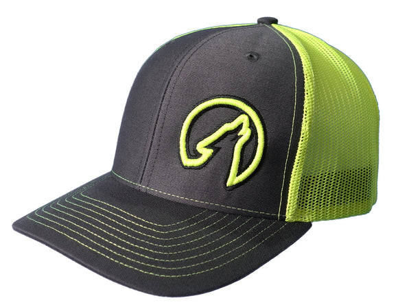 Coyote Country Trucker Hat Charcoal/Neon Yellow