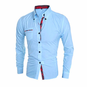 Long Sleeve Slim Fit Cotton Male Dress Shirts