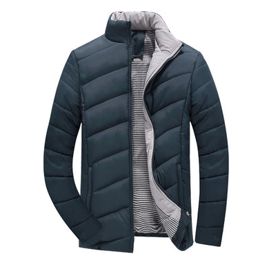 New Mens Thick Solid Color Winter Jacket