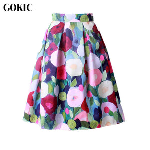 Women Vintage Retro Satin Floral Pleated Skirts