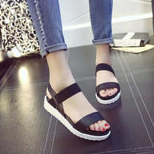 Womens Aged Leather Flat Sandals