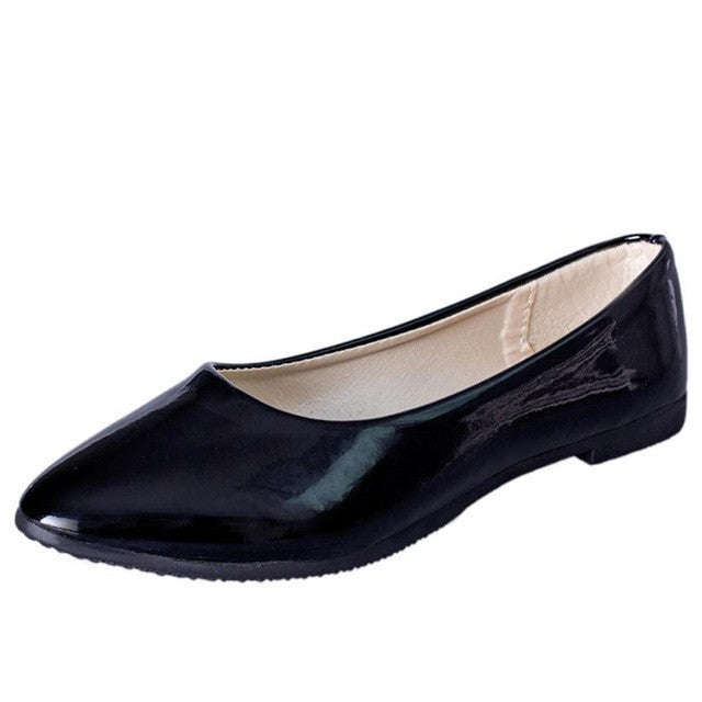 Women Flat Pointed Toe Leather Slip On