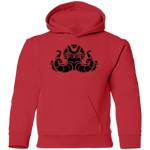 Black Distressed Emblem Hoodies for Kids (Octopus/Matey)