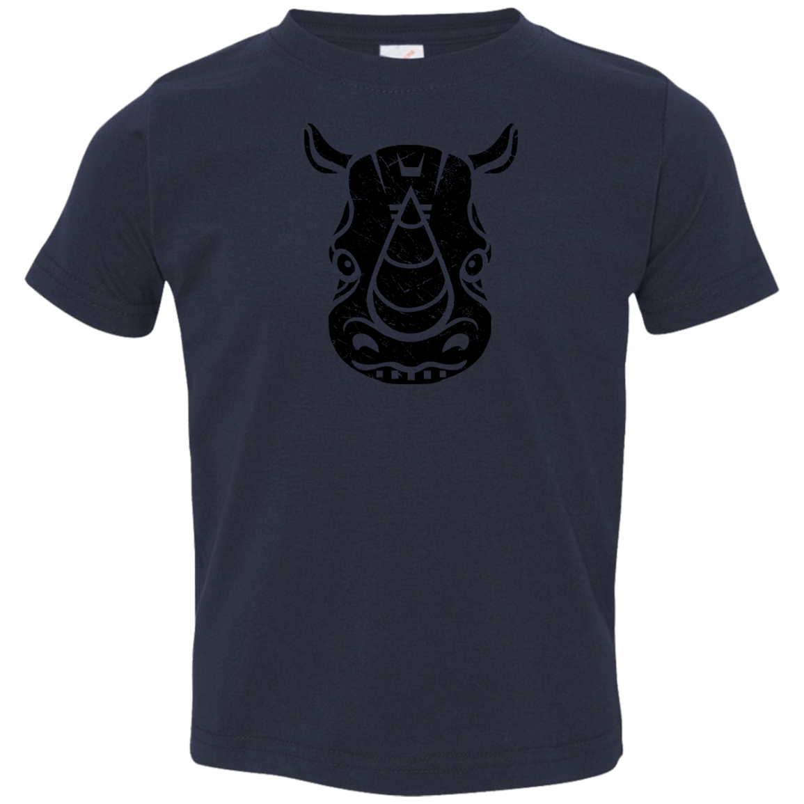 Black Distressed Emblem T-Shirt for Toddlers (Rhino/Tank)