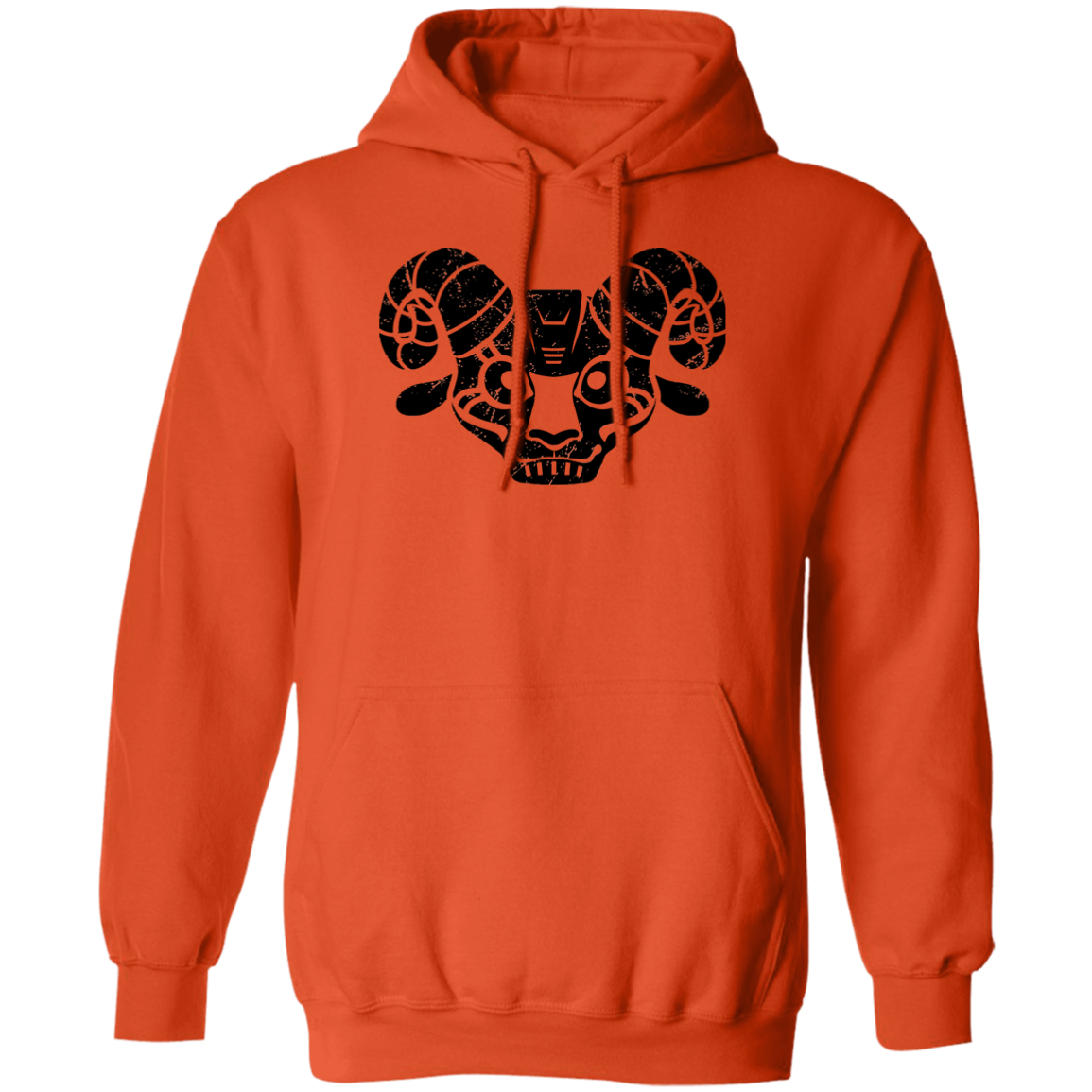 Black Distressed Emblem Hoodies for Adults (Goat/BILLE)