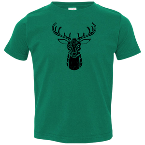 Black Distressed Emblem T-Shirts for Toddlers (Deer/Stag) - Dark Corps