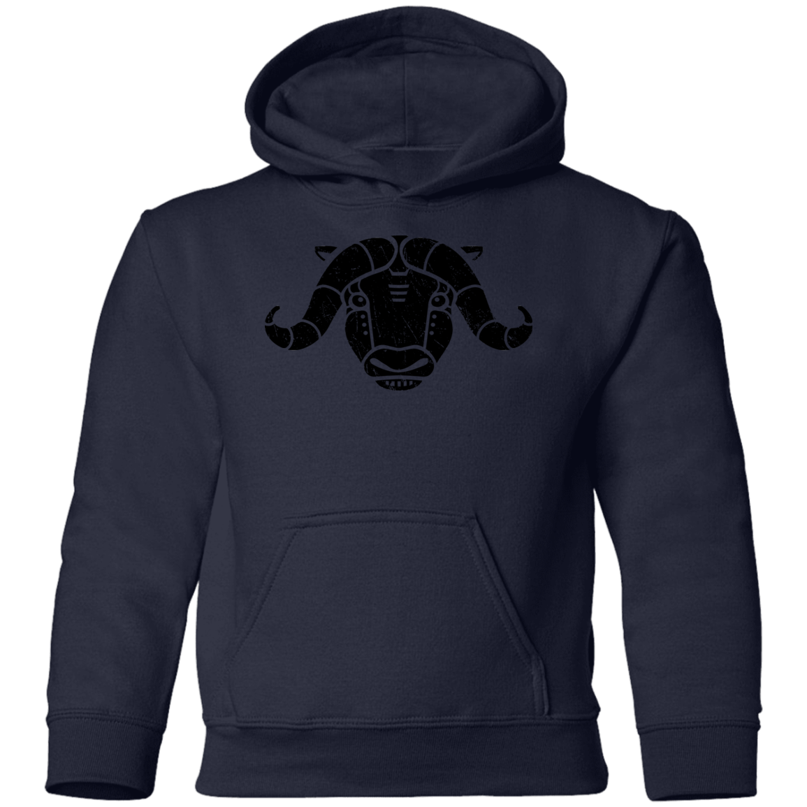 Black Distressed Emblem Hoodies for Kids (Musk Ox/Moxie)