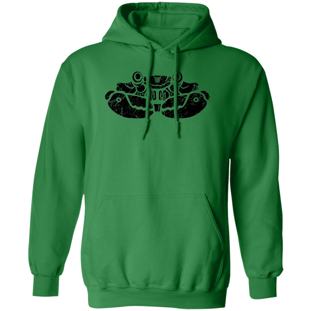 Black Distressed Emblem Hoodies for Adults (Crab/Clamps)