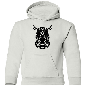 Black Distressed Emblem Hoodies for Kids (Rhino/Tank)