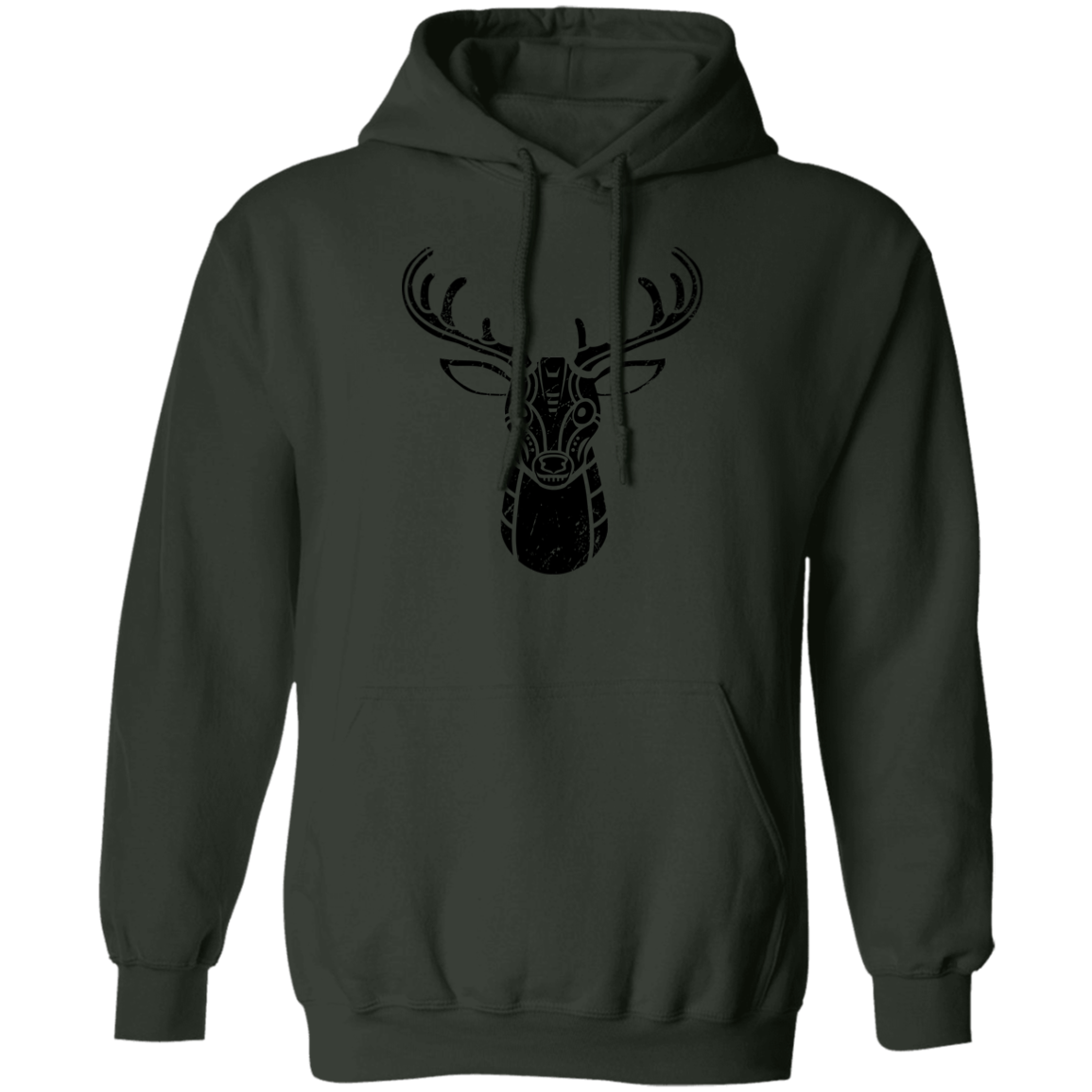 Black Distressed Emblem Hoodies for Adults (Deer/Stag)