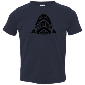 Black Distressed Emblem T-Shirt for Toddlers (Shark/Whitetip)