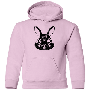 Black Distressed Emblem Hoodies for Kids (Rabbit/Lucky)