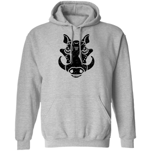 Black Distressed Emblem Hoodies for Adults (Warthog/Bumper)