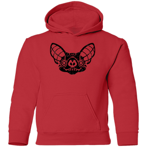 Black Distressed Emblem Hoodies for Kids (Bat/Radar)