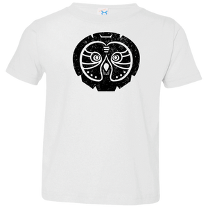 Black Distressed Emblem T-Shirt for Toddlers (Gray Owl/Sage)