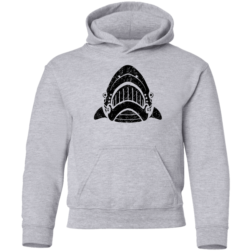 Black Distressed Emblem Hoodies for Kids (Shark/Whitetip)