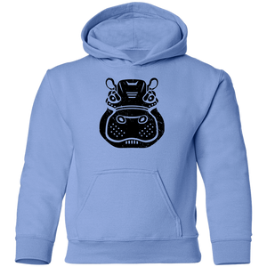 Black Distressed Emblem Hoodies for Kids (Hippo/Teal)