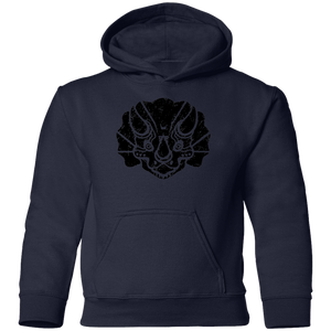 Black Distressed Emblem Hoodies for Kids (Triceratops/Trips)