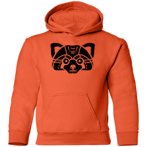 Black Distressed Emblem Hoodies for Kids (Red Panda/Himalaya)
