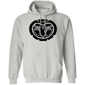 Black Distressed Emblem Hoodies for Adults (Barn Owl/Grim)
