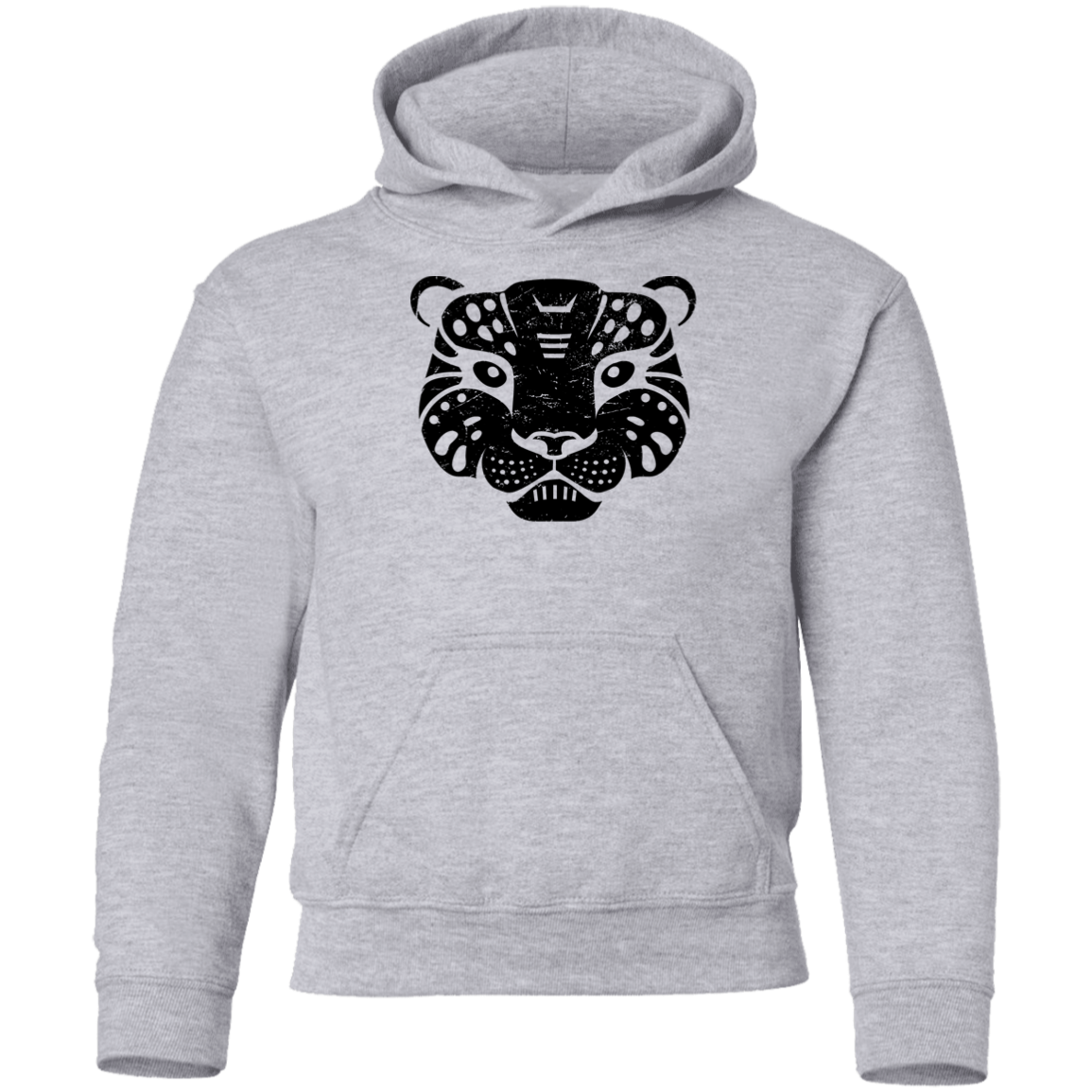Black Distressed Emblem Hoodies for Kids (Snow Leopard/Denali)