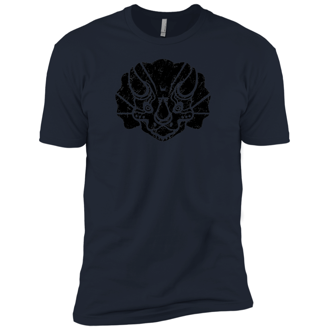 Black Distressed Emblem (Triceratops)