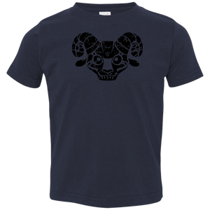 Black Distressed Emblem T-Shirts for Toddlers (Goat/BILLE) - Dark Corps