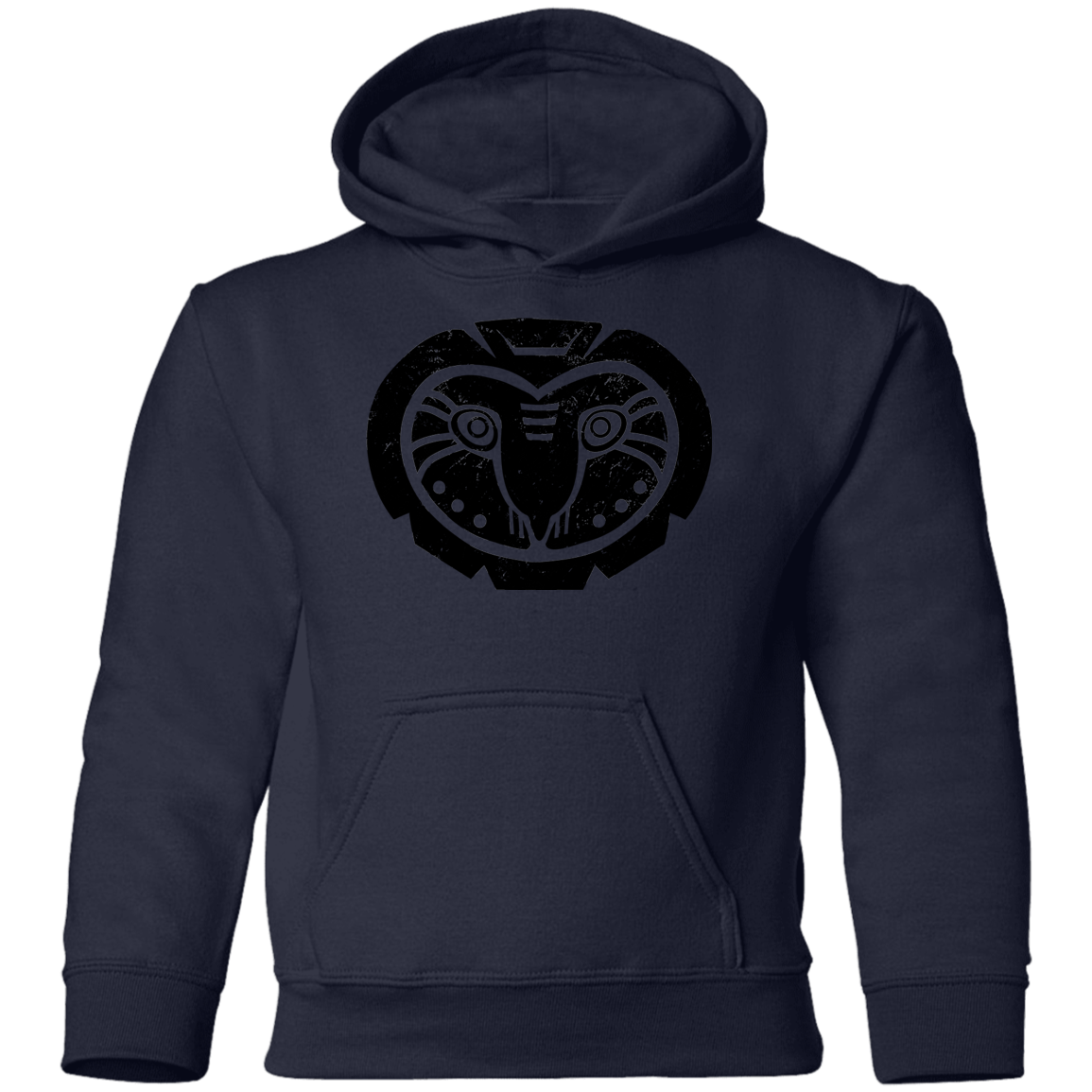 Black Distressed Emblem Hoodies for Kids (Barn Owl/Grim)